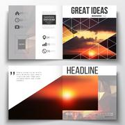 Set of annual report business templates for brochure, magazine, flyer or booklet - stock illustration