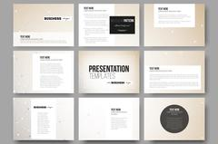 Set of 9 vector templates for presentation slides. Abstract polygonal low poly - stock illustration