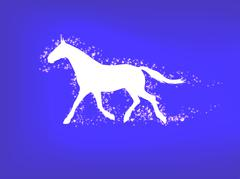 Silhouette of a running horse on a blue background Stock Illustration