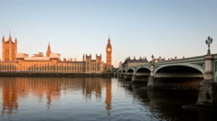 Palace of Westminster, Big Ben and Westminster Bridge London at dawn, time lapse Stock Footage