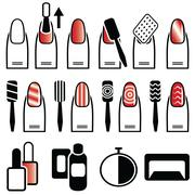 Female gel & hybrid manicure with cat eye effect , nail polish in color Stock Illustration