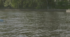 athlete in a kayak will float by - stock footage
