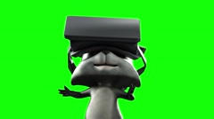 cartoon animated funny raccoon wearing glasses virtual reality - stock footage
