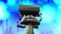 cartoon funny animated raccoon wearing virtual reality glasses - stock footage