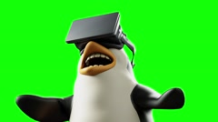 cartoon funny animated penguin wearing glasses virtual reality - stock footage