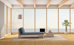 Living room of a minimalist holiday villa Stock Illustration