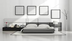 Black and white minimalist bedroom Stock Illustration