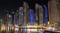 Dubai Marina night flip horizontal timelapse, United Arab Emirates HD Footage