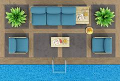 Top view of pallet sofa by the pool - stock illustration