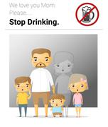 Family campaign mommy stop drinking - stock illustration