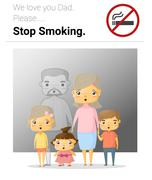 Family campaign daddy stop smoking - stock illustration