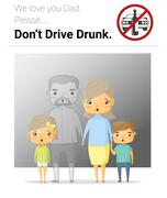 Family campaign daddy dont drive drunk - stock illustration