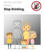 Family campaign daddy stop drinking - stock illustration