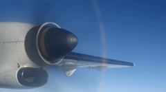 Airplane Propeller during flight in the sky Stock Footage