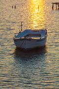 Sunset Scene with Boats, Corfu - stock photo