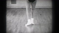 1966: Jazz dance moves 5 closeup behind kick stepping shuffle slide. NEW YORK Stock Footage
