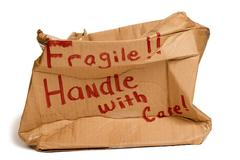 Fragile Brown Box Crushed  XXXL Stock Photos