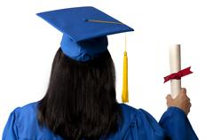 Graduate Holding Diploma Seen From Behind Stock Photos