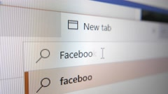 4K FACEBOOK Typed in Web Search Bar Stock Footage
