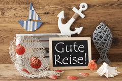 Chalkboard With Summer Decoration, Gute Reise Means Good Trip - stock photo