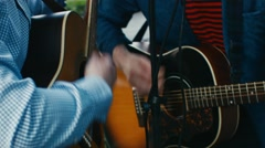 Musicians perform on the street Stock Footage