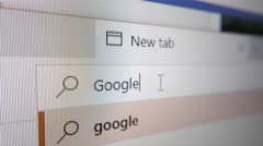 4K GOOGLE Typed in Web Search Bar Stock Footage