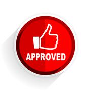 Approved icon, red circle flat design internet button, web and mobile app ill Stock Illustration
