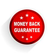 money back guarantee icon, red circle flat design internet button, web and mo - stock illustration