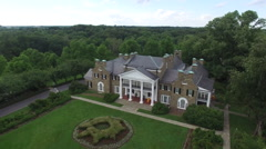 Glenview Historic Neo-Classical Revival Style Mansion Sweeping Wide Aerial Stock Footage