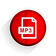 mp3 file icon, red circle flat design internet button, web and mobile app ill - stock illustration