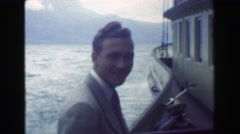 1949: Formally dressed happy man cruise ship transport on big river. NICE, Stock Footage
