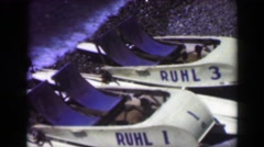1949: Pleasure vacation 2 person boating vehicle beached Ruhl 1 and 3.  NICE, Stock Footage