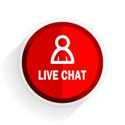 live chat icon, red circle flat design internet button, web and mobile app il - stock illustration