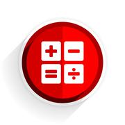 calculator icon, red circle flat design internet button, web and mobile app i - stock illustration