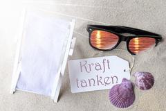 Sunny Flat Lay Summer Label Kraft Tanken Means Relax Stock Photos