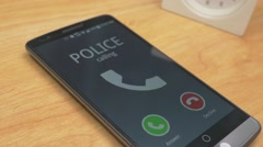 4K Incomming Call From the Police on Smartphone Stock Footage