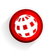 earth icon, red circle flat design internet button, web and mobile app illust - stock illustration