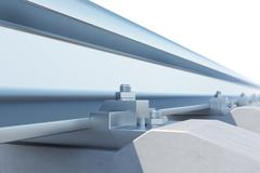 Railway close-up of view on white background. 3d illustration Stock Illustration