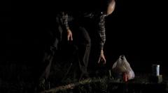 Man firewood breaks leg Stock Footage