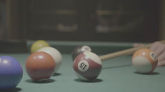 Detail shot of pool billiard balls colliding - shot 15 - FLAT - stock footage