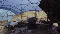 Internal Structure of an Improvised Shelter in the Mountains Panorama From Left Stock Footage