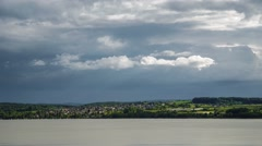 Stormclouds forming over Lake Constance in Germany - Time lapse - stock footage