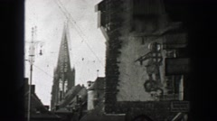 1937: German town cathedral medieval clock tower knights templar motif before Stock Footage