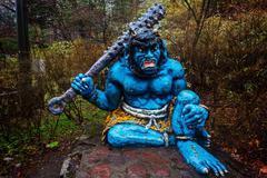 Blue demon or giant in Noboribetsu - stock photo