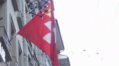 Flag of Switzerland waving in the wind, patriotic feelings for country, slow-mo - stock footage