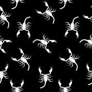 Large Scorpion Silhouette Seamless Pattern Background Vector Ill - stock illustration