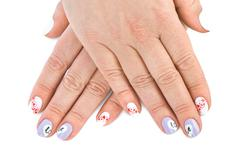 Finger nail with love pattern Stock Photos