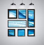 Abstract Gallery Background with Frame and Beautiful Wave. Vecto - stock illustration