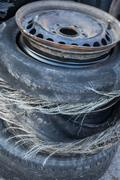 Blown out tires - stock photo