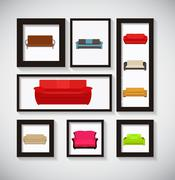 Abstract Gallery Background with Sofa Icon Set Vector Illustrati - stock illustration